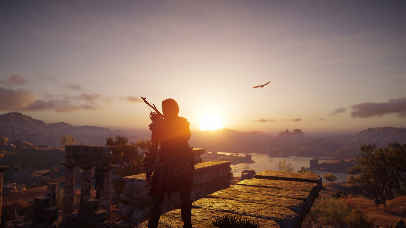 Kassandra views a sunset