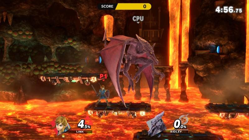 Link battles Ridley in Super Smash Bros. Ultimate